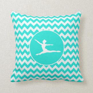 Turquoise, Aqua Color Chevron; Ballet Pillows