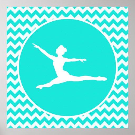 Turquoise Aqua Color Chevron Ballet Poster Zazzle