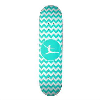 Turquoise, Aqua Color Chevron; Ballet Skateboard
