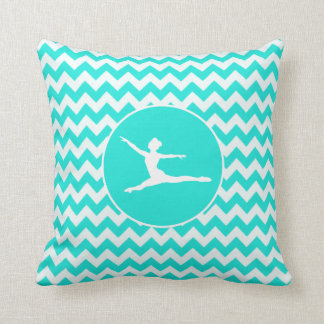 Turquoise, Aqua Color Chevron; Ballet Throw Pillow