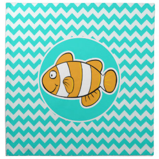 Turquoise, Aqua Color Chevron; Clown Fish Napkin