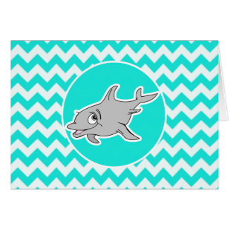 Turquoise, Aqua Color Chevron; Dolphin Greeting Card