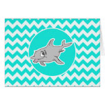 Turquoise, Aqua Color Chevron; Dolphin Cards