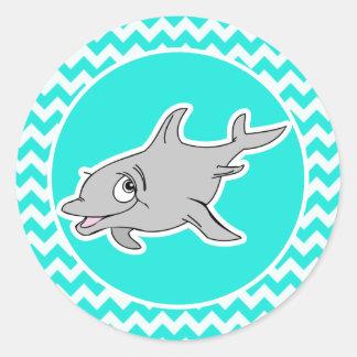 Turquoise, Aqua Color Chevron; Dolphin Classic Round Sticker