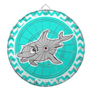 Turquoise, Aqua Color Chevron; Dolphin Dart Board
