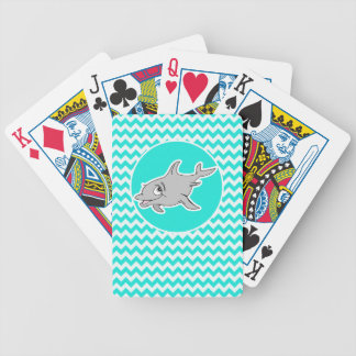Turquoise, Aqua Color Chevron; Dolphin Card Deck