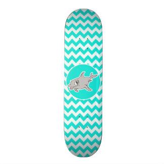 Turquoise, Aqua Color Chevron; Dolphin Skateboard