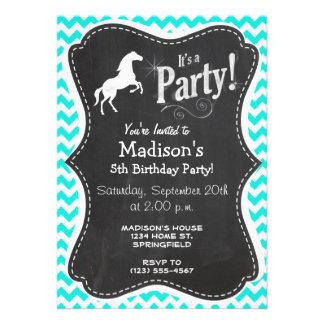 Turquoise, Aqua Color Chevron; Equestrian Invitation