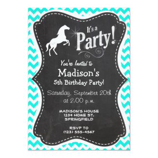 """Turquoise, Aqua Color Chevron; Equestrian 5"""" X 7"""" Invitation Card"""