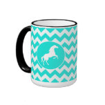 Turquoise, Aqua Color Chevron; Equestrian Coffee Mug