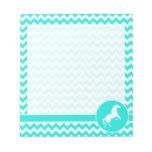 Turquoise, Aqua Color Chevron; Equestrian Scratch Pads