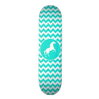 Turquoise, Aqua Color Chevron; Equestrian Skateboard Deck