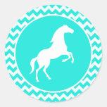 Turquoise, Aqua Color Chevron; Equestrian Round Stickers