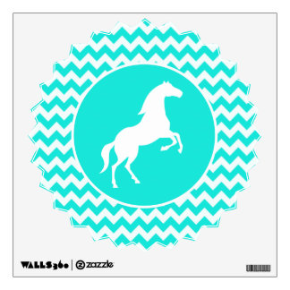 Turquoise, Aqua Color Chevron; Equestrian Wall Decal