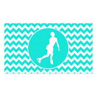 Turquoise, Aqua Color Chevron; Figure Skating Business Card