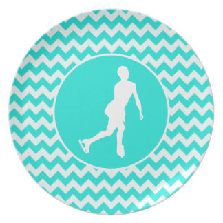 Turquoise, Aqua Color Chevron; Figure Skating Dinner Plate