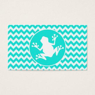 Turquoise, Aqua Color Chevron; Frog Business Card