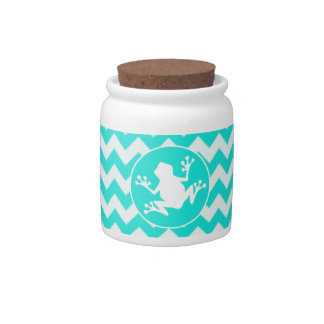 Turquoise, Aqua Color Chevron; Frog Candy Dishes