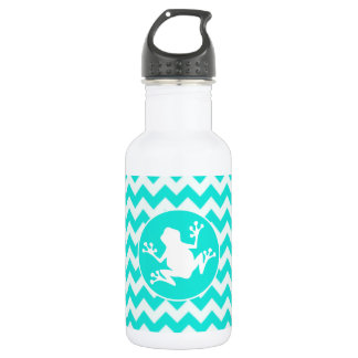 Turquoise, Aqua Color Chevron; Frog Water Bottle
