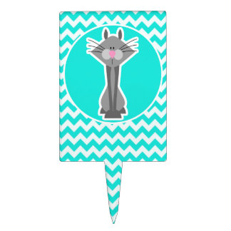 Turquoise, Aqua Color Chevron; Gray Cat Cake Topper