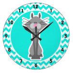 Turquoise, Aqua Color Chevron; Gray Cat Clock