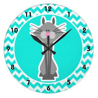 Turquoise, Aqua Color Chevron; Gray Cat Large Clock