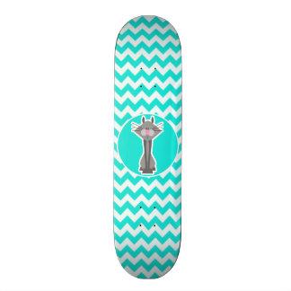 Turquoise Aqua Color Chevron Gray Cat Skate Decks