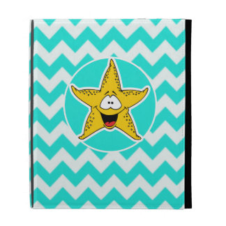 Turquoise, Aqua Color Chevron; Happy Starfish iPad Folio Case