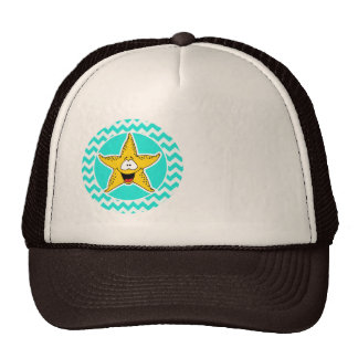 Turquoise, Aqua Color Chevron; Happy Starfish Trucker Hat