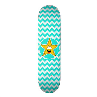 Turquoise, Aqua Color Chevron; Happy Starfish Skate Board