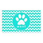 Turquoise, Aqua Color Chevron; Paw Print Double-Sided Standard Business Cards (Pack Of 100)