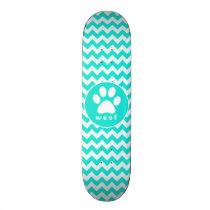 Turquoise, Aqua Color Chevron; Paw Print Skateboard Deck