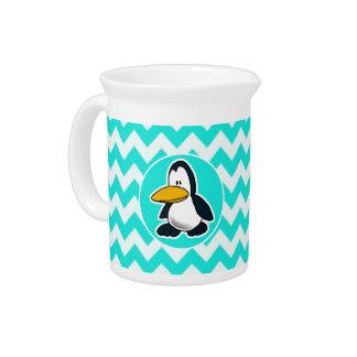 Turquoise, Aqua Color Chevron; Penguin Drink Pitcher