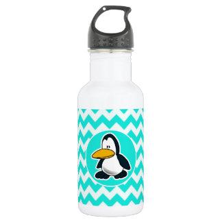 Turquoise, Aqua Color Chevron; Penguin Water Bottle