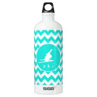 Turquoise, Aqua Color Chevron; Snow Ski Aluminum Water Bottle