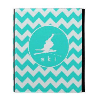 Turquoise, Aqua Color Chevron; Snow Ski iPad Cases