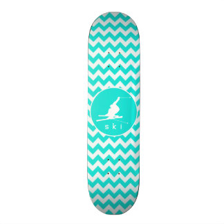 Turquoise, Aqua Color Chevron; Snow Ski Skateboard Deck
