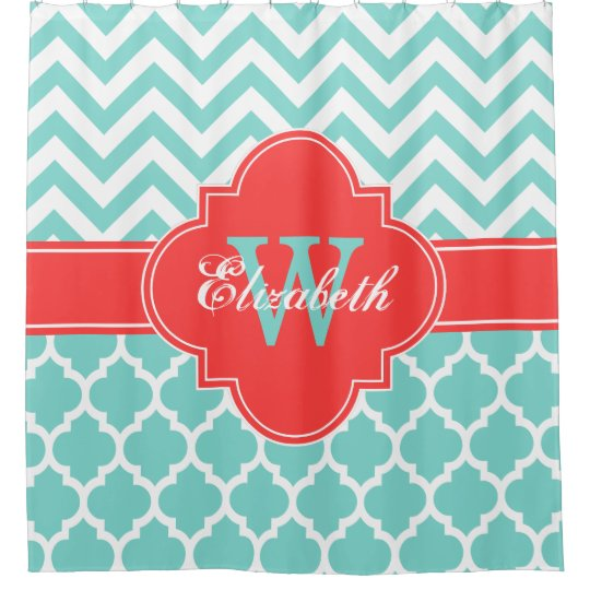 Turquoise Aqua Coral Red Moroccan 5 Chevron 1IQRN Shower Curtain