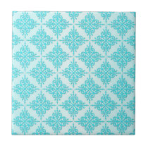 Turquoise Aqua Damask Pattern Tile