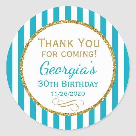 Turquoise Aqua Gold Birthday Thank You Favor Tags