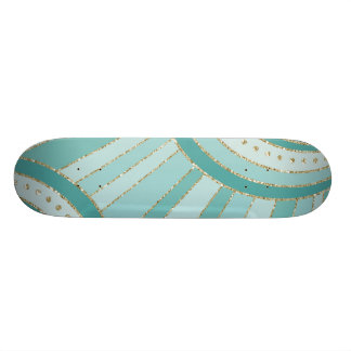 Turquoise Aqua Gold Metallic Geometric SkateBoard