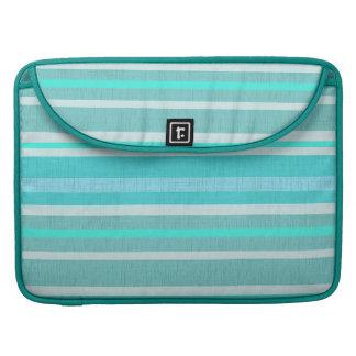 Turquoise Aqua Linen Look Striped Design Sleeve For MacBook Pro