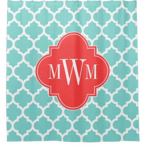 Turquoise Aqua Moroccan 5 Coral Red 3I Monogram Shower