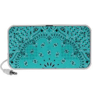 Turquoise Aqua Paisley Western Bandana Scarf Print iPod Speakers