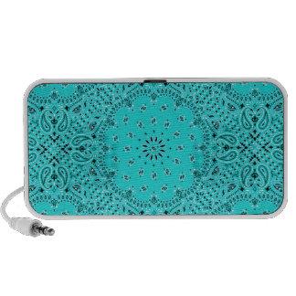 Turquoise Aqua Paisley Western Bandana Scarf Print Portable Speaker