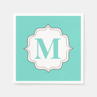 Turquoise Aqua Personalized Monogram Napkins