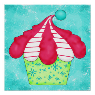 Turquoise Aqua Red White Peppermint Cupcake Art Poster
