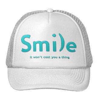 Turquoise Aqua Smile Ascii Text Hat