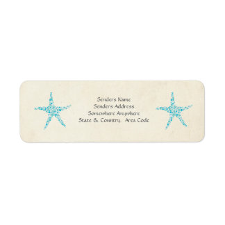 Turquoise Aqua Starfish Small Address Labels