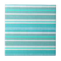 Turquoise Aqua Stripe Pattern Ceramic Tile